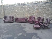 Vintage Chesterfield Suite - sofa, couch, armchairs, rocking chair, foot stool