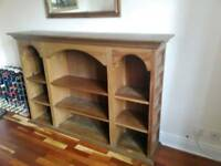 SUBSTANTIAL SOLID WOOD Bookcase. LARGE 6ft wide 4ft high. UNIQUE DESIGN.