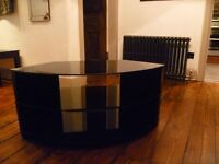 black glass tv stand for sale, approx 36x18x18 inches.