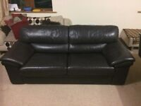 Quality 3 Seater brown leather sofa / Settee - £85