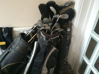3 Sets of golf clubs with bags...