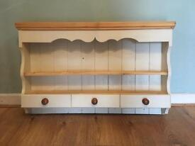 Solid Wood Wall Shelve With Drawers