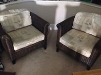 Two basket chairs living room conservatory style great condition