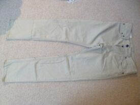 BOYS' HOLLISTER CHINOS W31 X L32 LIGHT STONE COLOUR