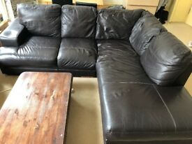 Leather corver sofa and armchair