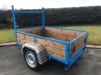 NEW 6ft x 4ft CAR TRAILER WITH 3 LEAF SPRINGS LED LIGHTS