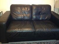 Black leather sofa bed 100 ono