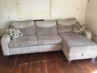 DFS CORNER BEIGE CORDROY SOFA AND SOFABED AND STORAGE - MUST GO TODAY/TOMORROW-CHEAP DELIVERY - £200