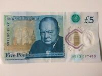 NEW 2016 £5 Note - AK13 collectors item LOW NUMBER