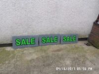 2,, Perspex sale signs ,760m by 380m by 6m in good condition with drilled