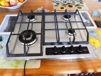AEG Cast Iron Gas 4 Ring Hob, brushed steel, hardly used,