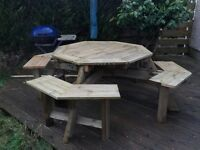 Garden table and bench new built for 8 adults