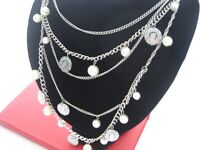 Chanel Style Chain Pearl & Coin Chain Necklace - 5 Strand