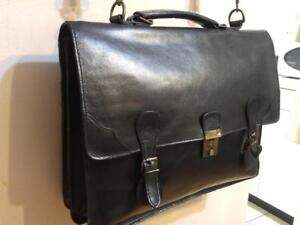 Oakville BLACK REAL LEATHER BRIEFCASE Laptop Bag Vintage Amazing Condition MINT Unisex Attache Business Tote Case