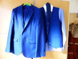 Next Midnight Blue 3 piece suit with shirt and tie - Age 13