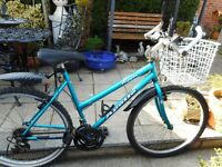 ladies blue 19 inch frame apollo ripple bike with basket and lock