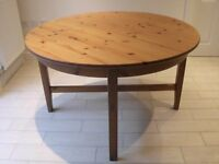 IKEA LEKSVIK ROUND EXTENDING DINING TABLE SOLID WOOD STURDY FLEXIBLE DESIGN GOOD OVERALL CONDITION