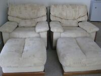 PAIR OF ARMCHAIRS AND PAIR OF FOOTSTOOLS BY CAMBRIA IN NEUTRAL BISCUIT FABRIC. VGC