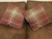 2x Next red Stirling woven check large cushions shabby chic vintage home interiors
