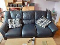 Black Leather 3 Seat Sofa