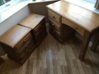 Solid wooden 2 x bed side cabinets & desk