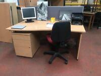 1600mm Waved Desk - Beech