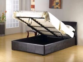 GET THE BEST SELLING BRAND ! BRAND NEW DOUBLE LEATHER OTTOMAN STORAGE BED WITH DEEP QUILT MATTRESS