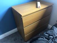 Ikea malm oak 3 drawer unit. 2 sets of drawers available