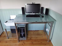 Computer desk and matching printer stand