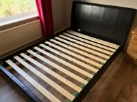 Leather look double bed frame