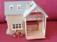 Sylvanian families Riverside Lodge with furniture and bicycle