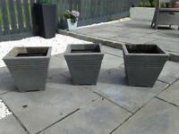 Grey planters / pots x3