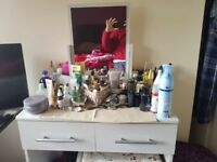 White pine dressing table with stool and attached mirror for sale