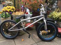 "haro 20"" silver/blue bmx bike"