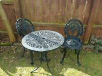 Garden table and 2 chairs bistro alluminum