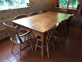 Solid pine 8 seater bespoke dining table