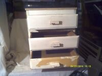 A SMALL 3 DRAWER , CHEST of DRAWERS , A NICE LITTLE PROJECT ,PURPLE with YELLOW DRAWERS?