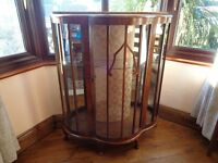 1950's Wood Veneered Display cabinet 'Teak/walnut' in colour