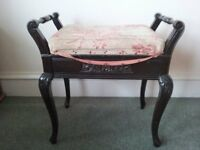 Dark wood piano stool with storage compartment and shabby chic fabric upholstery