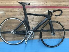 Black, track racing bicycle, fixed gear, large frame
