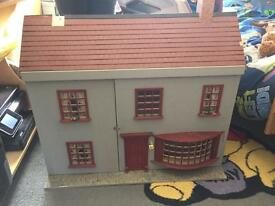 Dolls house with shop front + furniture