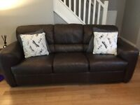 ***REDUCED*** Brown leather sofas, 2 seater and 3 seater