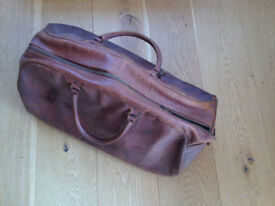 Classic Real Tan Leather 'Kingfisher' Holdall / Travel Bag