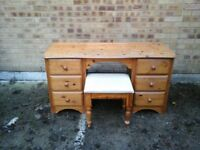 Pine dressing table and footstool
