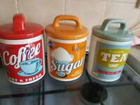Tea coffe and sugar ceramic canisters