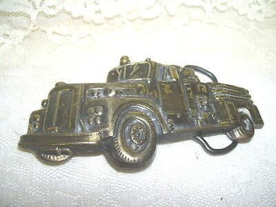 Vintage Brass Fire Truck Belt Buckle