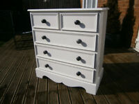 Farmhouse Solid Pine Ivory White Painted Chest Of 5 Drawers Dovetail Joints