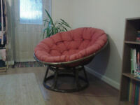 Papasan cane bamboo conservatory chairs for sale.