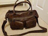 Koto Brown Leather Look Changing Bag, Mat & Bottle Holder