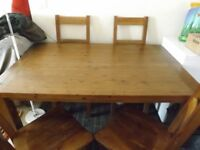REDUCED from £125 Solid pine table and chairs, 140cm x 90 cm good condition